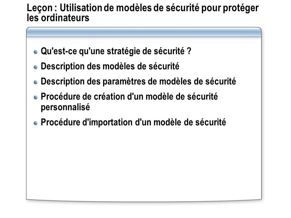 Leçon : Utilisation de modèles de sécurité pour protéger les ordinateurs