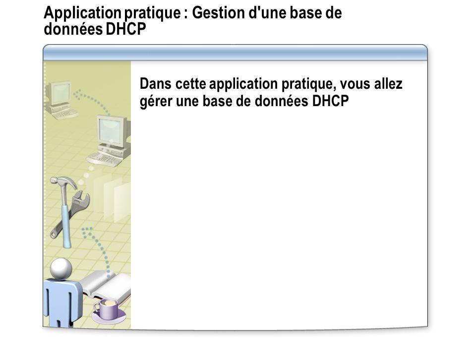 Application pratique : Gestion d une base de données DHCP