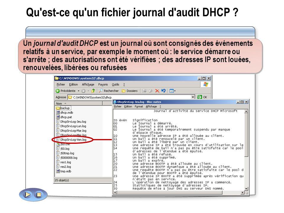 Qu est-ce qu un fichier journal d audit DHCP