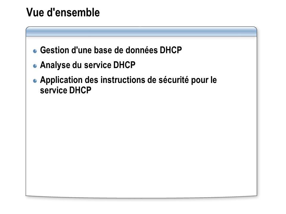Vue d ensemble Gestion d une base de données DHCP