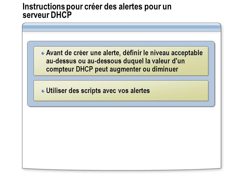 Instructions pour créer des alertes pour un serveur DHCP