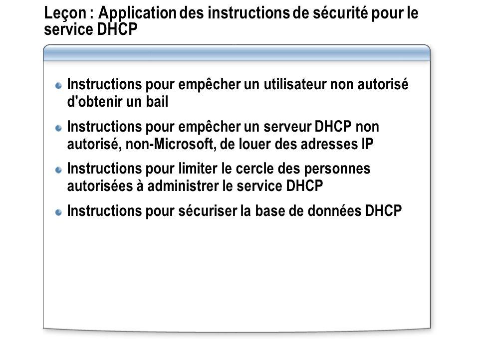 Leçon : Application des instructions de sécurité pour le service DHCP