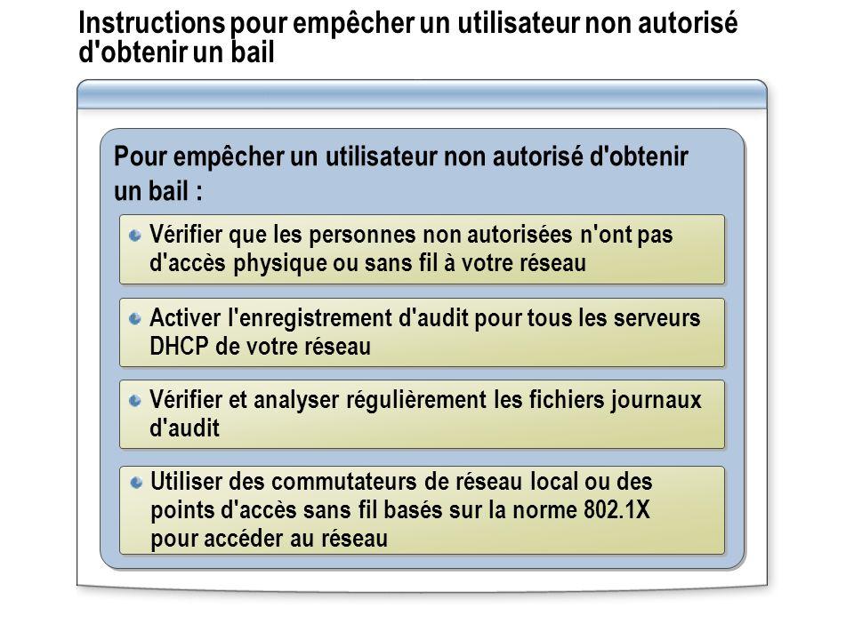Instructions pour empêcher un utilisateur non autorisé d obtenir un bail