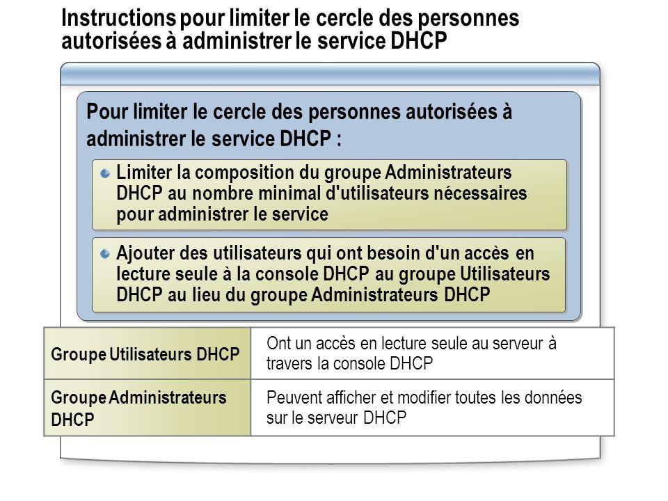 Instructions pour limiter le cercle des personnes autorisées à administrer le service DHCP