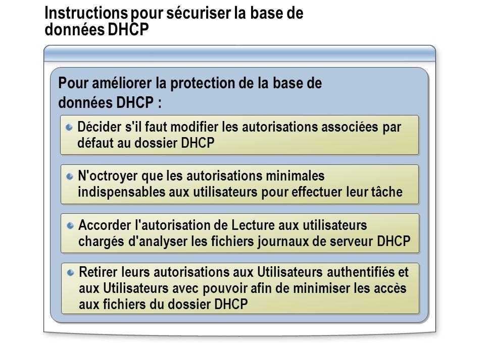 Instructions pour sécuriser la base de données DHCP