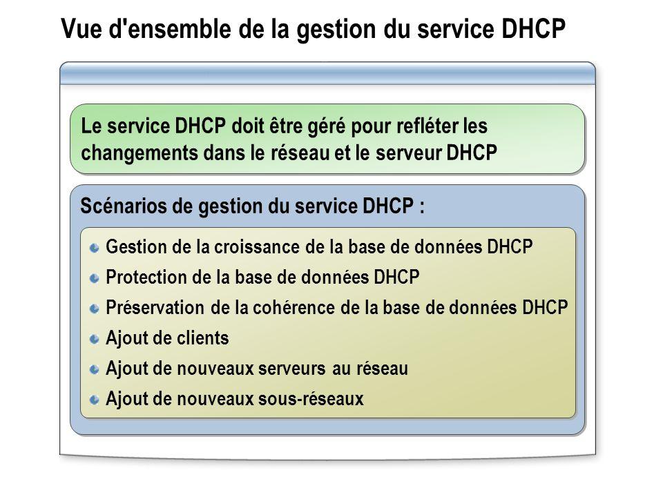 Vue d ensemble de la gestion du service DHCP