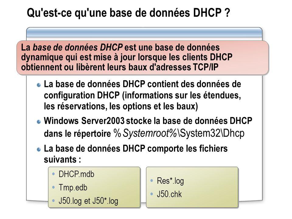 Qu est-ce qu une base de données DHCP