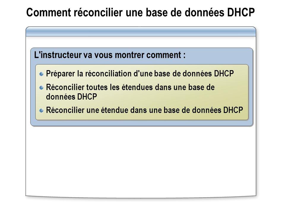 Comment réconcilier une base de données DHCP