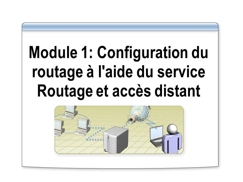 Module 1: Configuration du routage à l aide du service Routage et accès distant