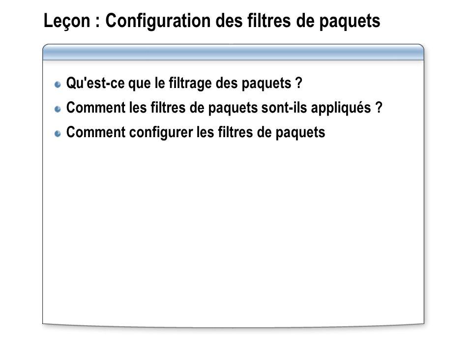 Leçon : Configuration des filtres de paquets