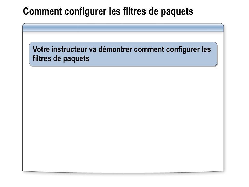Comment configurer les filtres de paquets