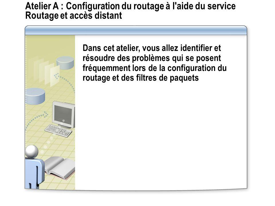 Atelier A : Configuration du routage à l aide du service Routage et accès distant
