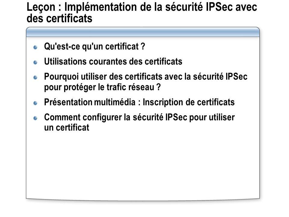 Leçon : Implémentation de la sécurité IPSec avec des certificats