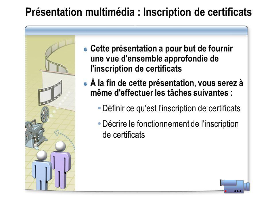 Présentation multimédia : Inscription de certificats