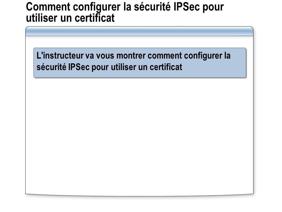 Comment configurer la sécurité IPSec pour utiliser un certificat