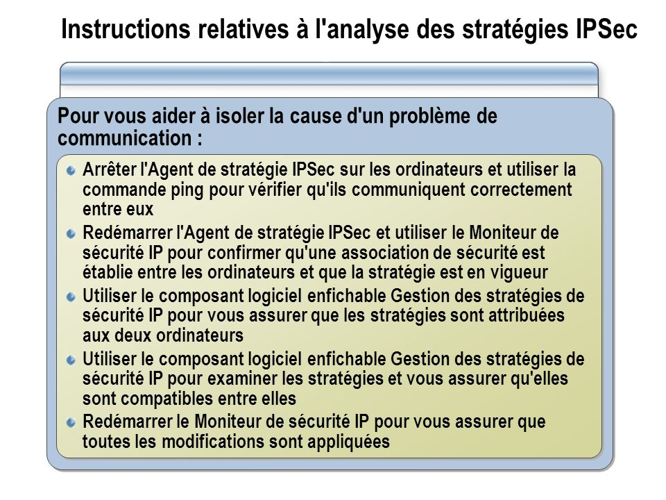 Instructions relatives à l analyse des stratégies IPSec