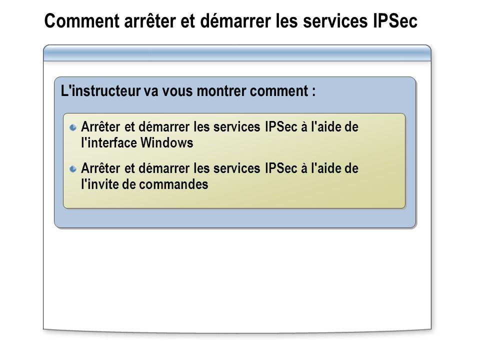 Comment arrêter et démarrer les services IPSec