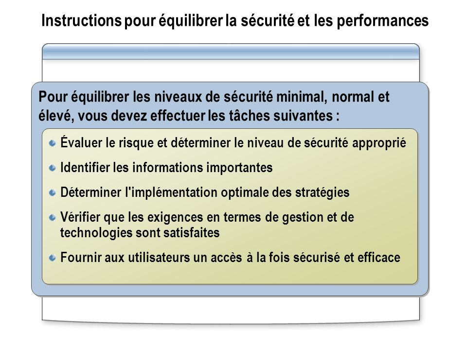 Instructions pour équilibrer la sécurité et les performances