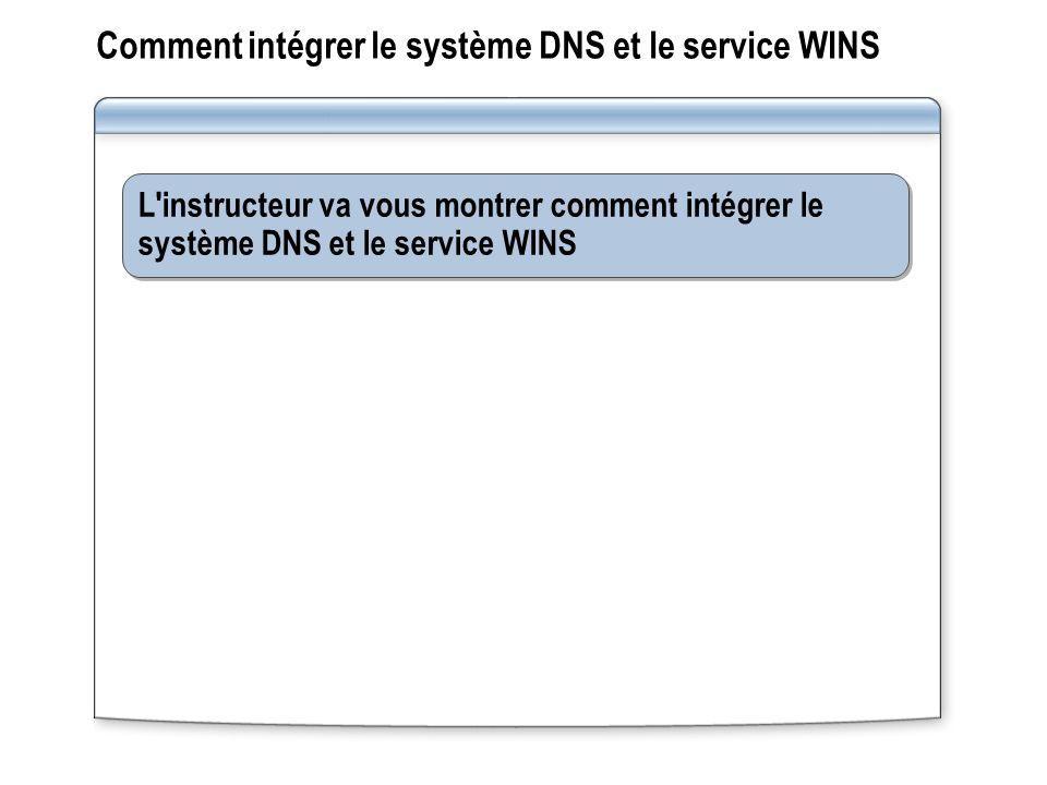 Comment intégrer le système DNS et le service WINS