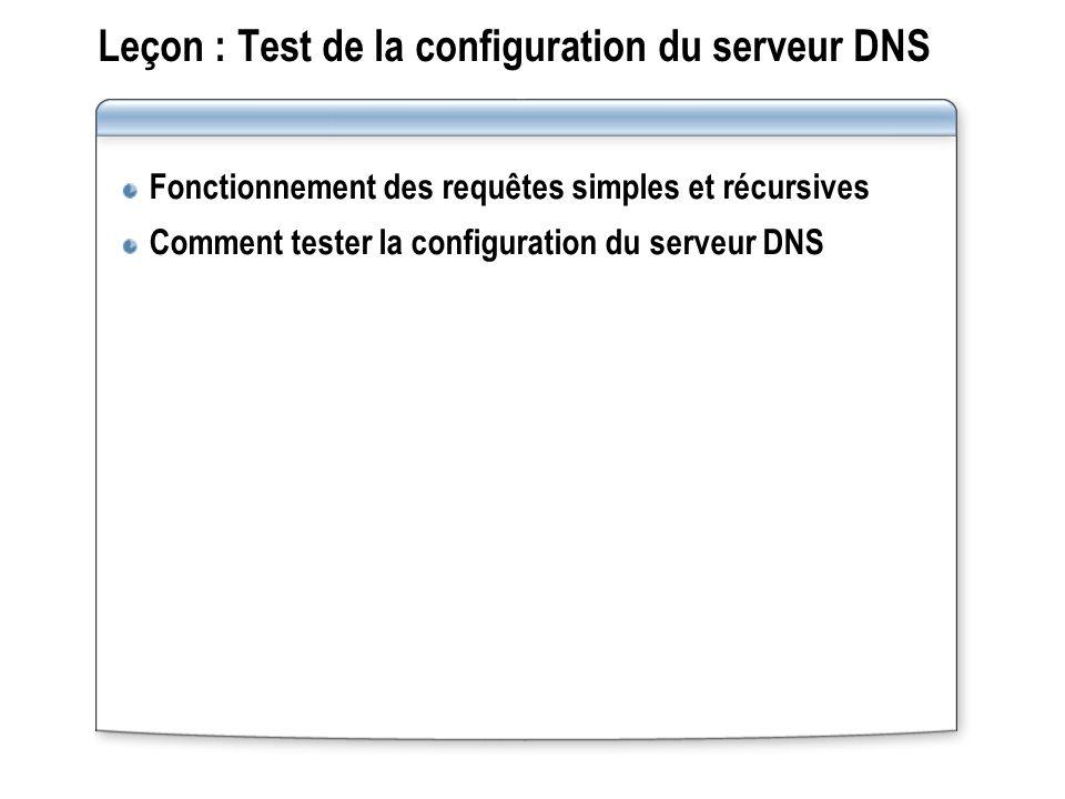 Leçon : Test de la configuration du serveur DNS