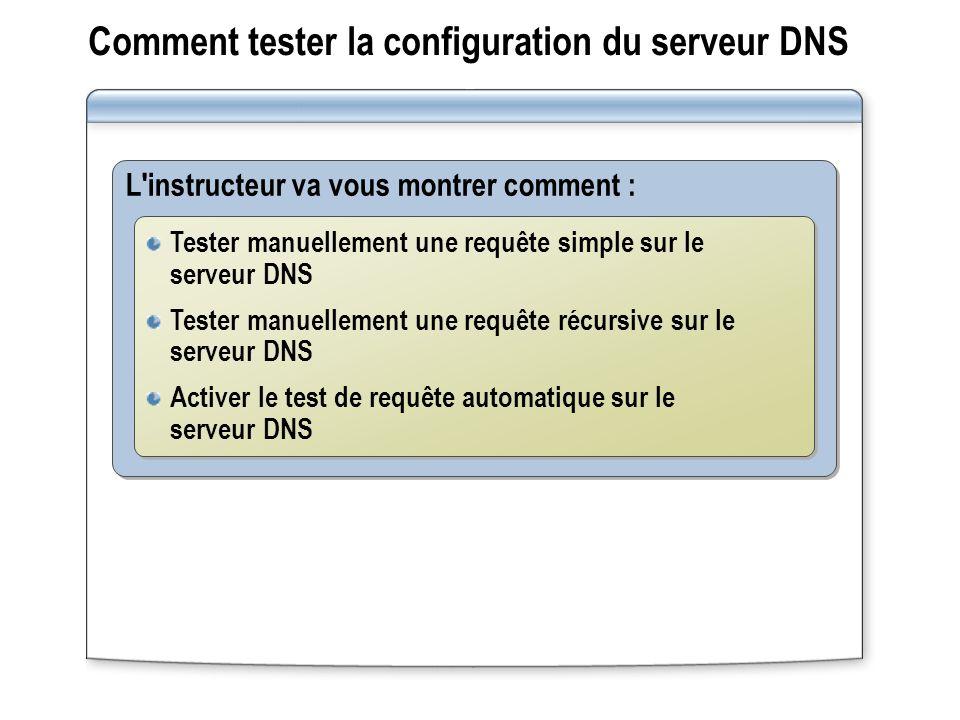 Comment tester la configuration du serveur DNS