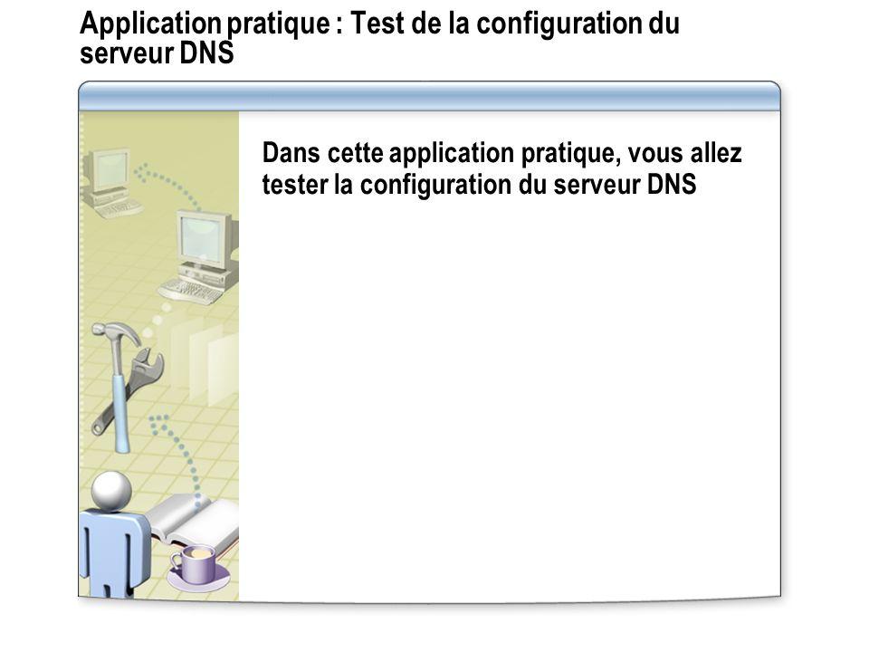 Application pratique : Test de la configuration du serveur DNS