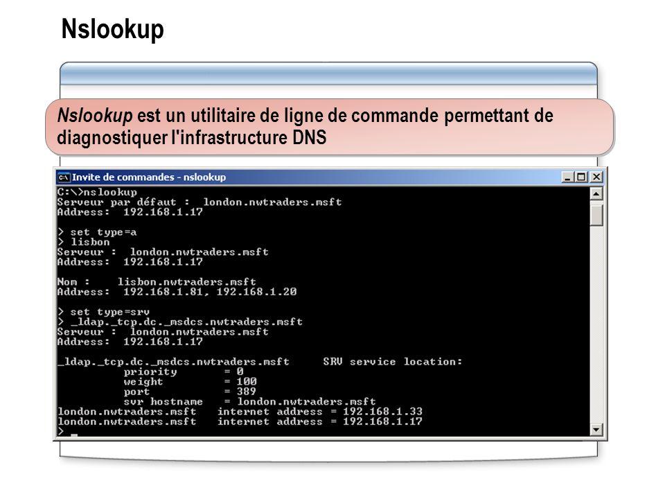 Nslookup Nslookup est un utilitaire de ligne de commande permettant de diagnostiquer l infrastructure DNS.