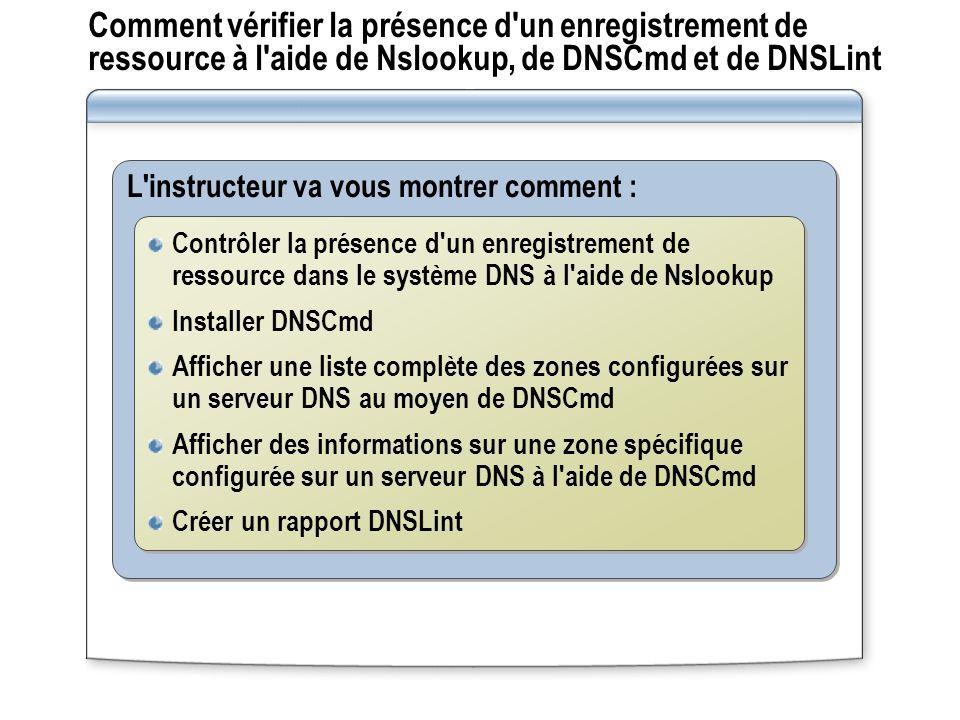 Comment vérifier la présence d un enregistrement de ressource à l aide de Nslookup, de DNSCmd et de DNSLint