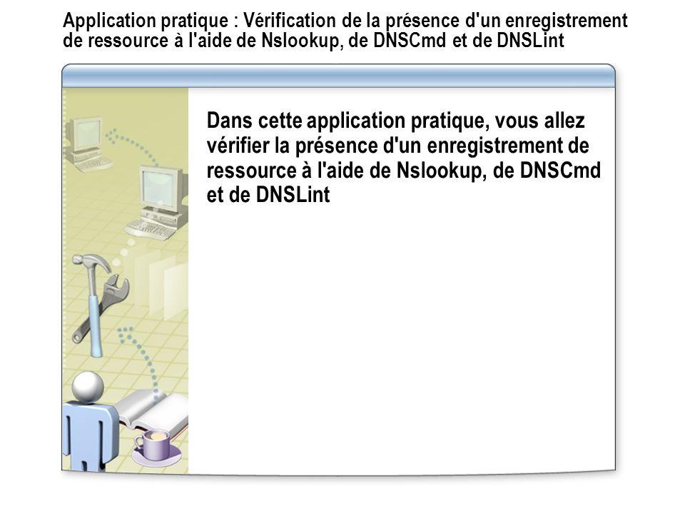 Application pratique : Vérification de la présence d un enregistrement de ressource à l aide de Nslookup, de DNSCmd et de DNSLint