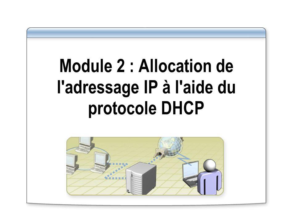Module 2 : Allocation de l adressage IP à l aide du protocole DHCP