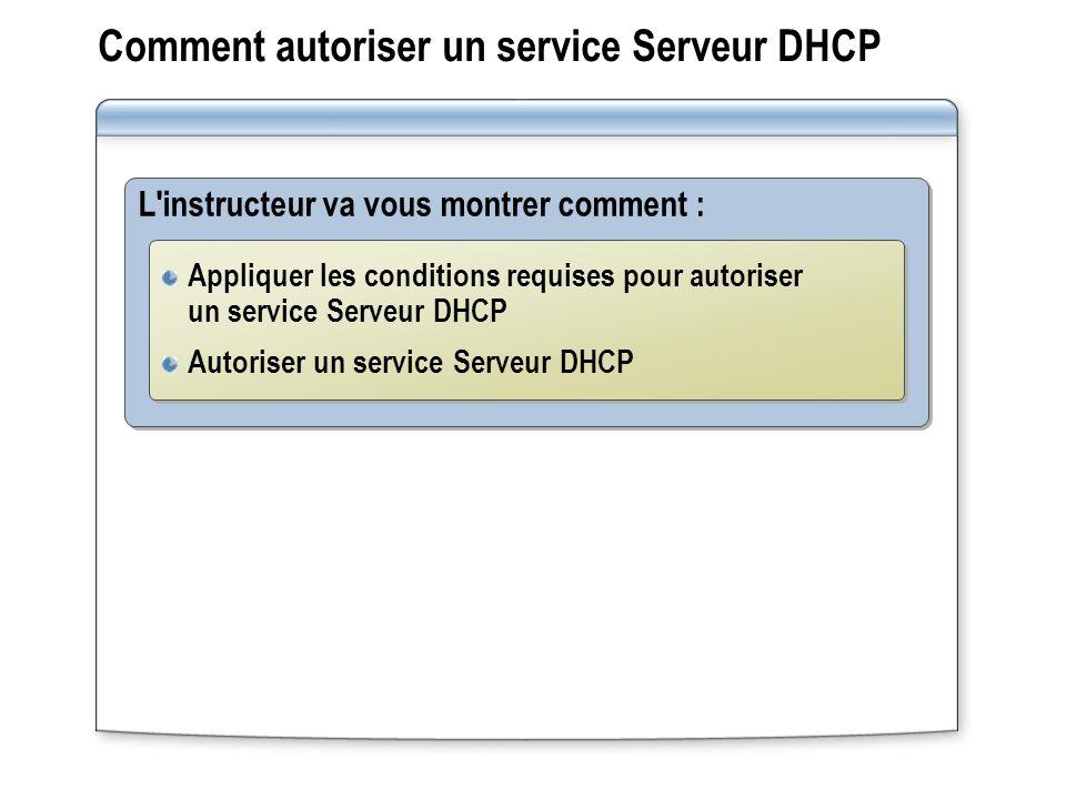 Comment autoriser un service Serveur DHCP