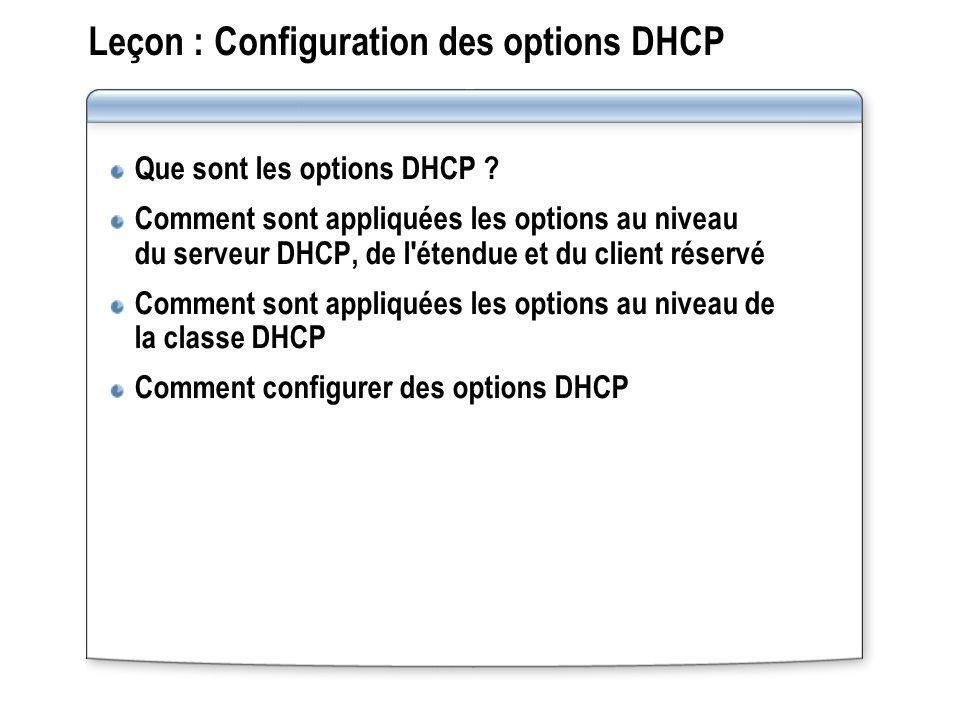 Leçon : Configuration des options DHCP