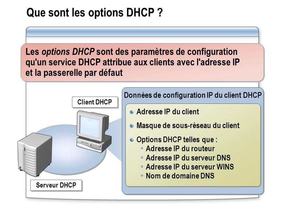 Que sont les options DHCP