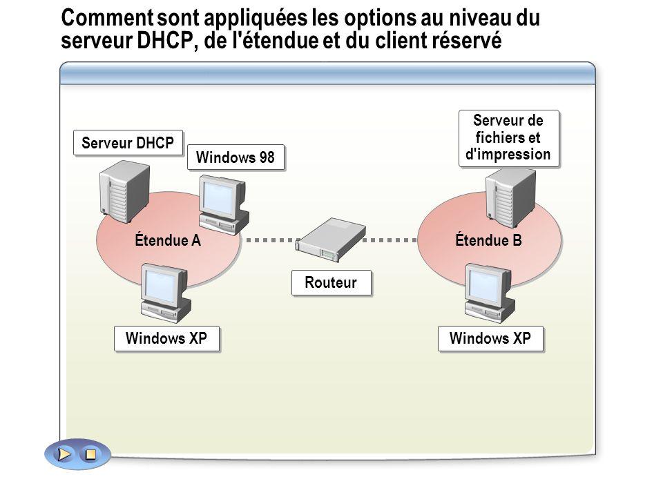 Comment sont appliquées les options au niveau du serveur DHCP, de l étendue et du client réservé