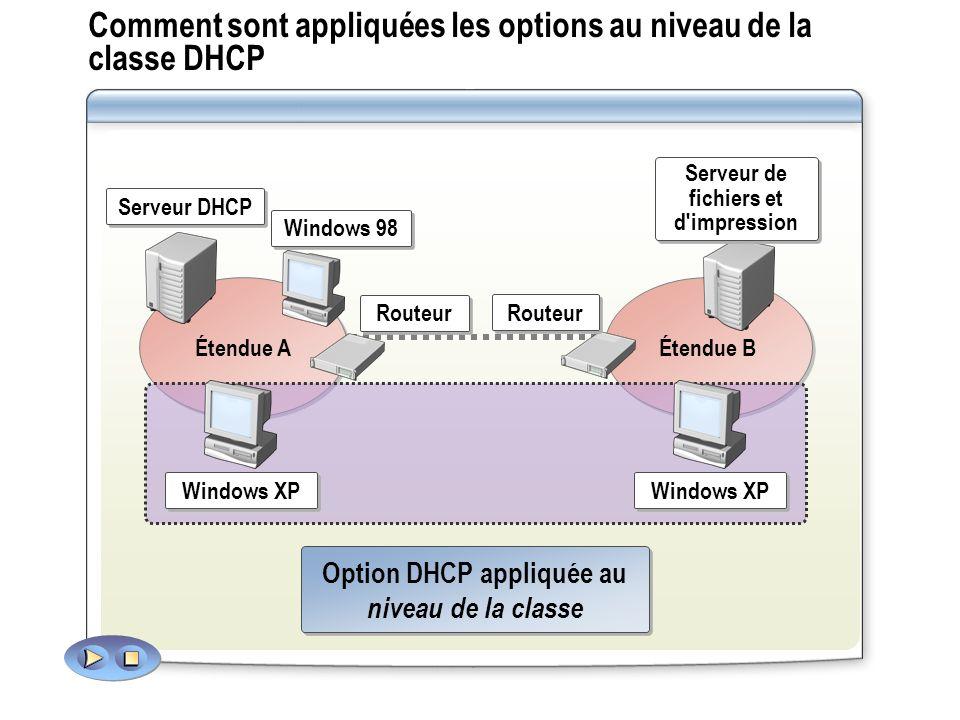 Comment sont appliquées les options au niveau de la classe DHCP