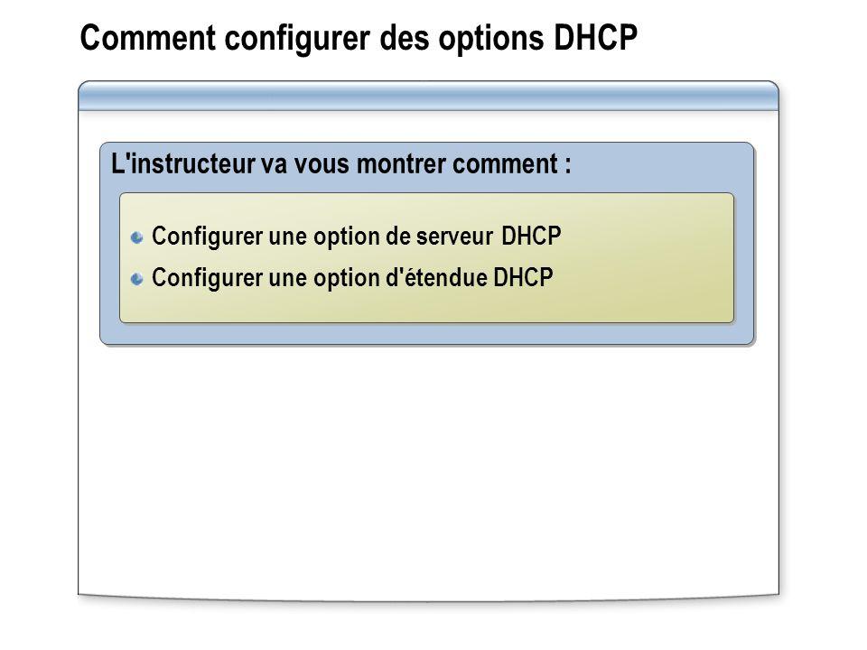 Comment configurer des options DHCP