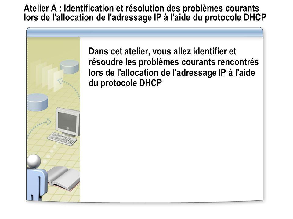 Atelier A : Identification et résolution des problèmes courants lors de l allocation de l adressage IP à l aide du protocole DHCP