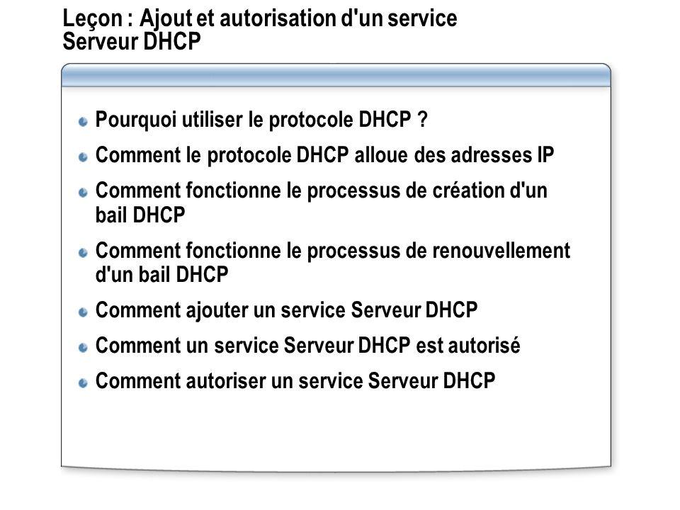 Leçon : Ajout et autorisation d un service Serveur DHCP