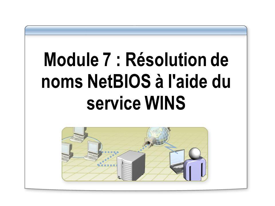 Module 7 : Résolution de noms NetBIOS à l aide du service WINS