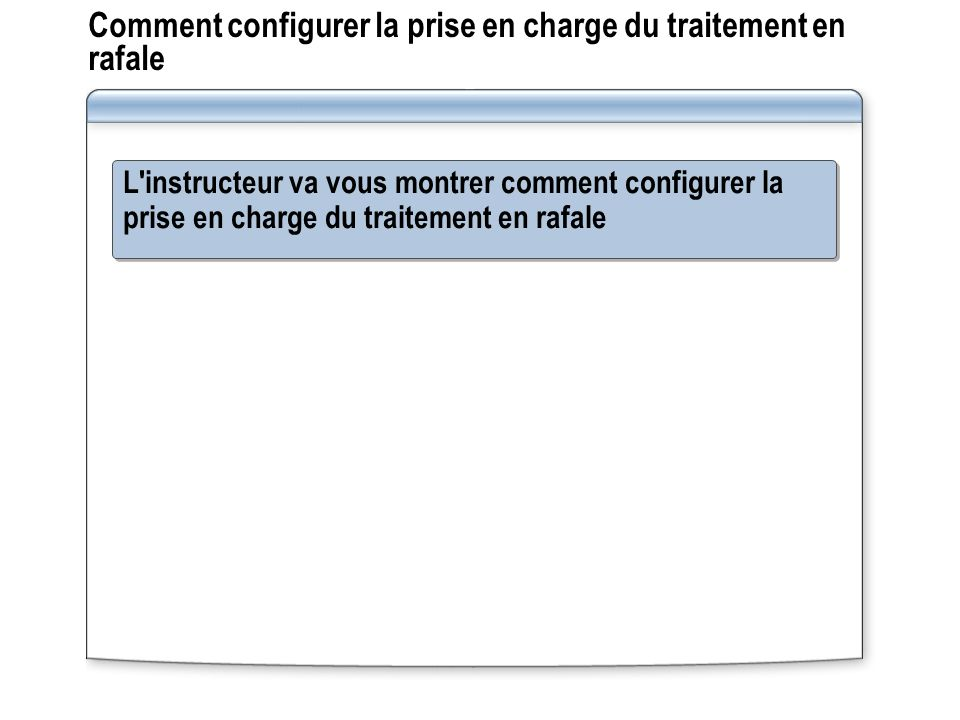 Comment configurer la prise en charge du traitement en rafale