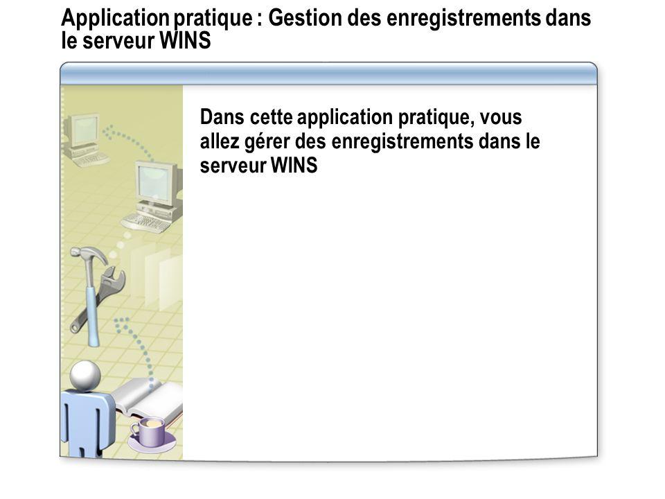 Application pratique : Gestion des enregistrements dans le serveur WINS