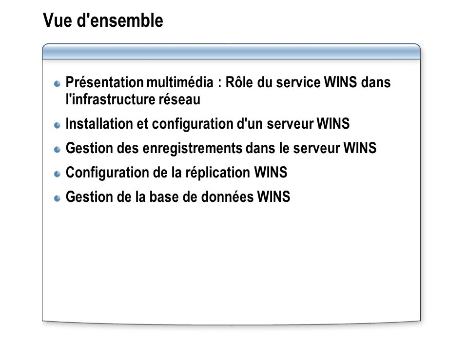 Vue d ensemble Présentation multimédia : Rôle du service WINS dans l infrastructure réseau. Installation et configuration d un serveur WINS.