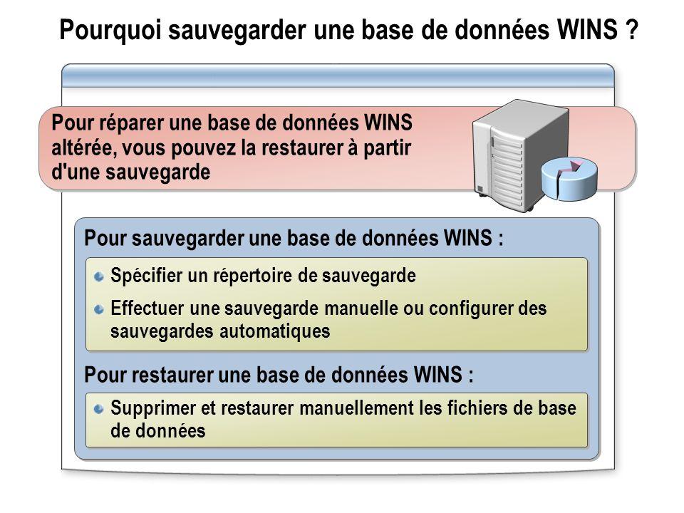 Pourquoi sauvegarder une base de données WINS