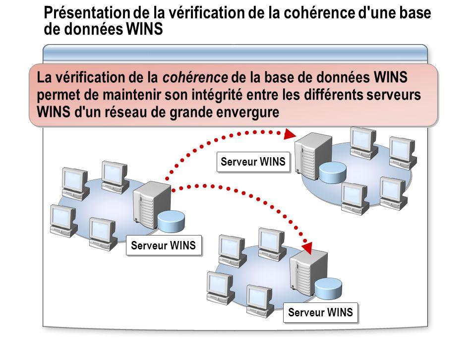 Présentation de la vérification de la cohérence d une base de données WINS