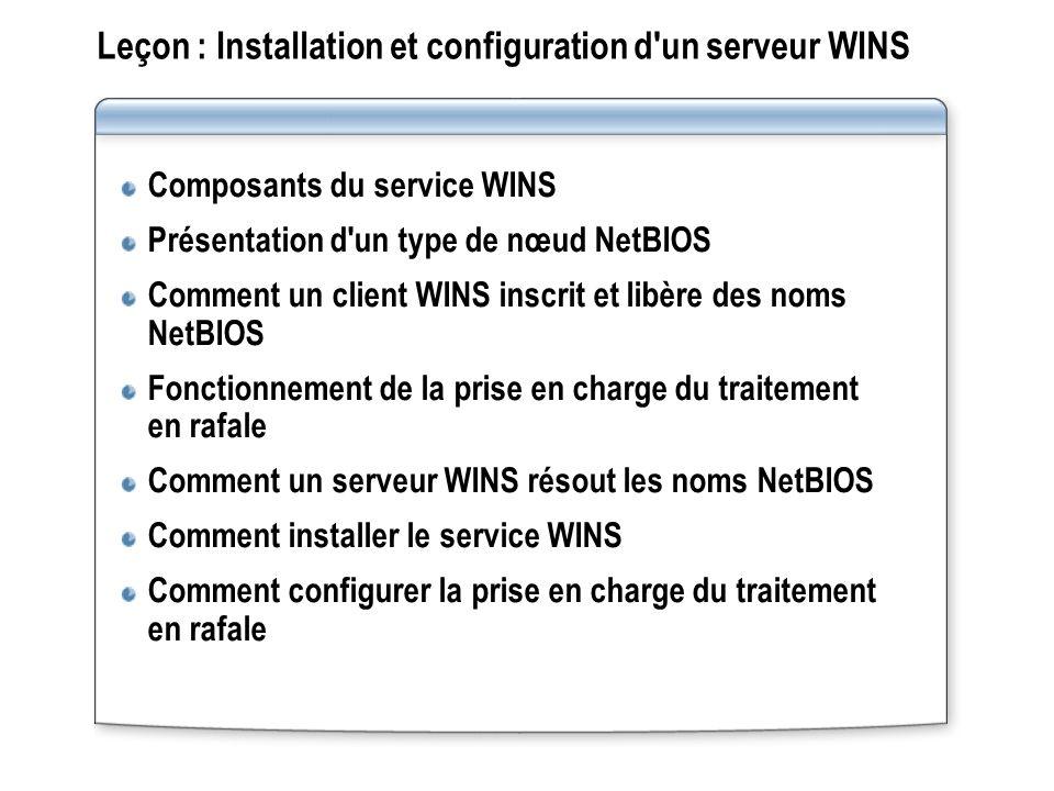 Leçon : Installation et configuration d un serveur WINS