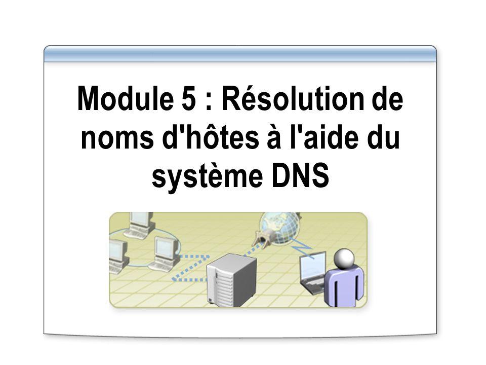 Module 5 : Résolution de noms d hôtes à l aide du système DNS