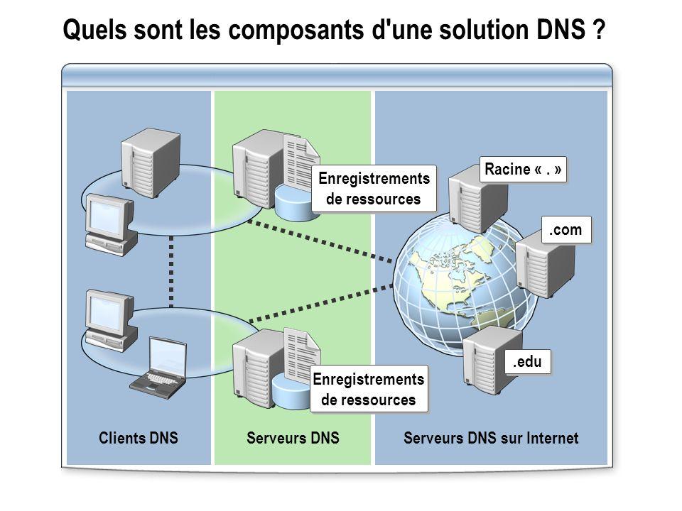 Quels sont les composants d une solution DNS