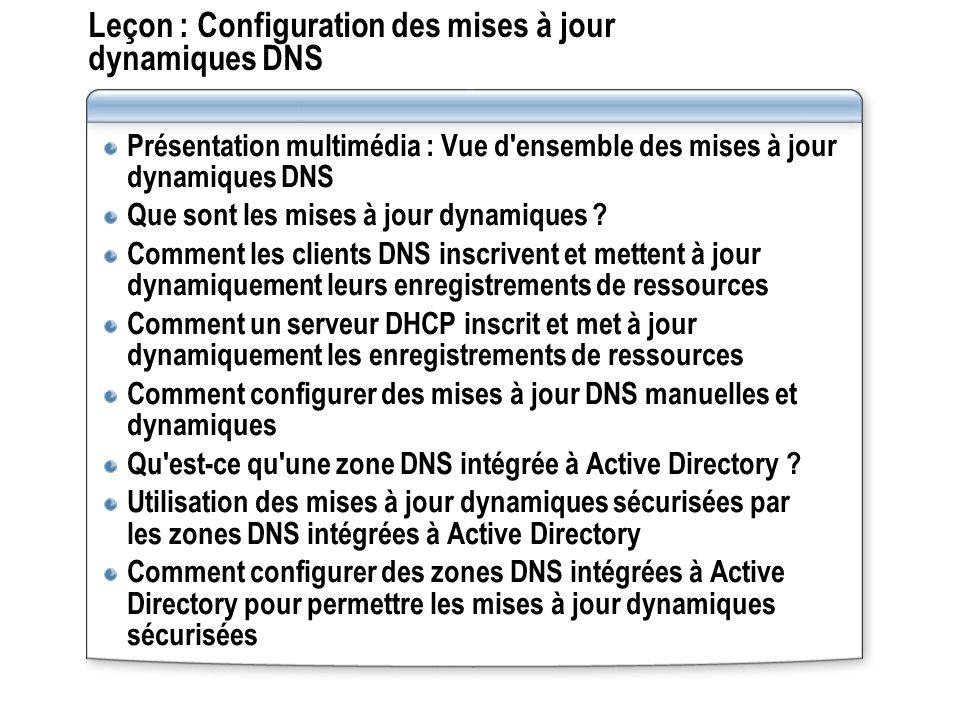 Leçon : Configuration des mises à jour dynamiques DNS