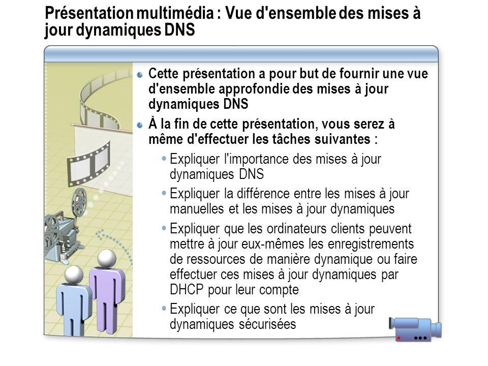 Présentation multimédia : Vue d ensemble des mises à jour dynamiques DNS