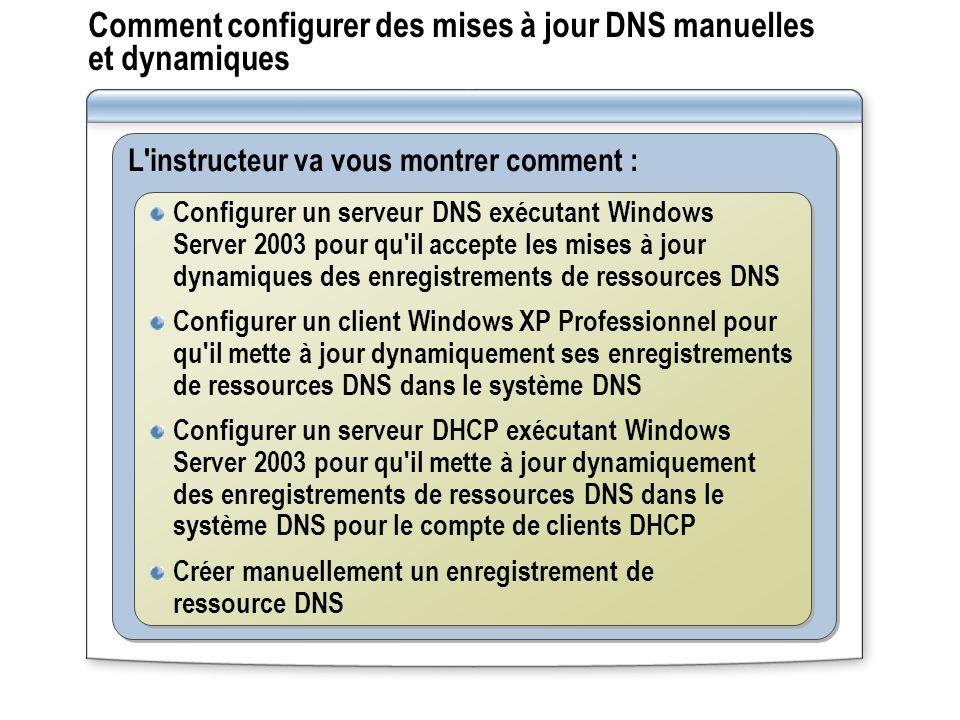 Comment configurer des mises à jour DNS manuelles et dynamiques